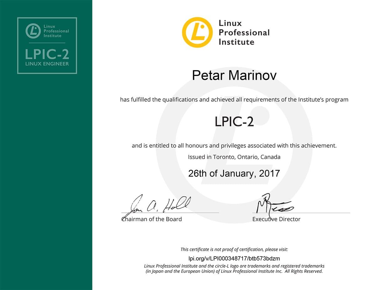 personal certificate